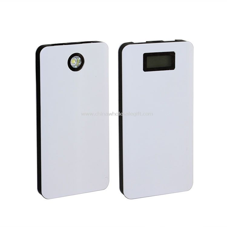 LCD screen LED light 12000mah external battery backup usb output power bank