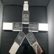Crystal USB flash drive with 3D and glowing logo images