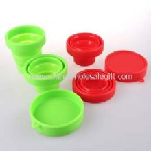 Silicone foldable cup with lid images