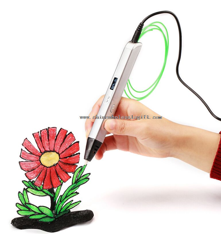3D Stereoscopic Printing Pen for 3D Drawing with ABS Filament Material and Power Adapter
