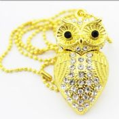 Jewelry owl USB flash drive gold/silver color with keychain images
