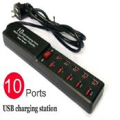 Multi-use 10 usb charging ports power adapter images