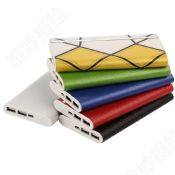 Slim wallet leather power bank 12000mah images