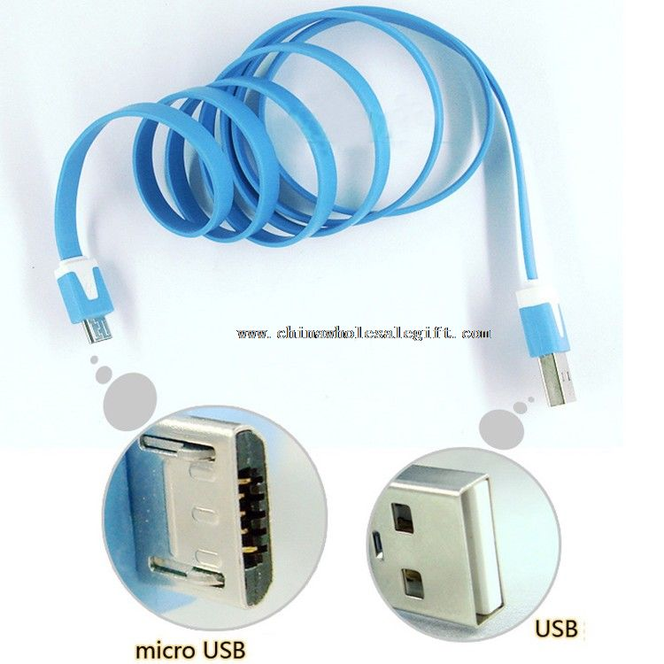 V8 Flat Noodle Micro USB to 2.0 USB Data Sync Charger data extension cable