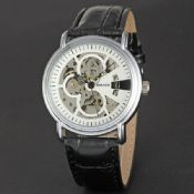 Classic Mechanical Automatic Movement Stainless Steel Back Leather Watch images