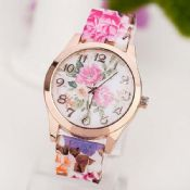 flower print strap women fashion floral colored silicon watches images