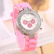 silver crystal color lady watch images