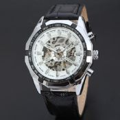 transparent automatic watch with leather band images
