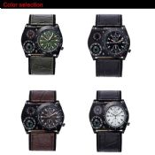 Military Leather Sports Compass Thermometer Watch images