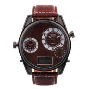 Round Dial Leather Watchband for Men images