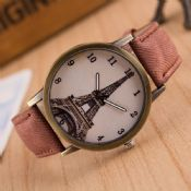 bronze antique watch with Eiffel Tower images