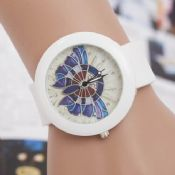 Colorful Printed butterfly white strap Silicone Watch images