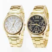 Stainless Steel Band Roman Dial Gold Color Alloy Watches images
