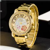 Steel Watch Women Crystal Golden Watch images