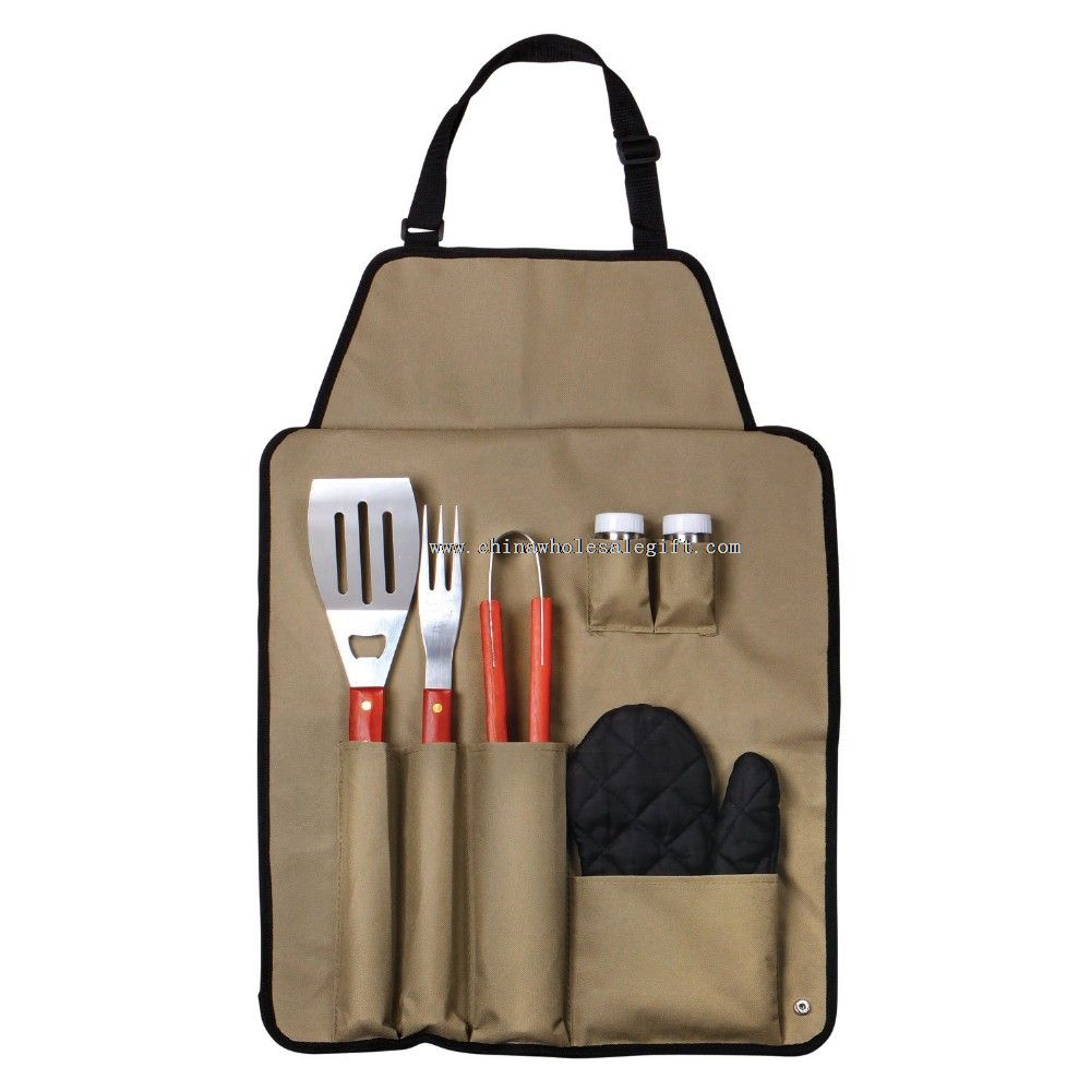 7-Piece Outdoor BBQ Apron Utensil Set
