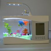 LED light USB Mini acrylic Fish Tank with LCD Calendar clock images