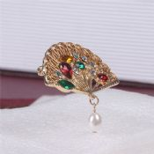 Crystal Rhinestone Fan Shape Brooch images