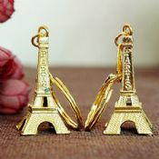 Gold Plated 3D Paris Souvenir Keyring images