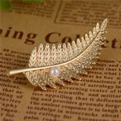 Gold Plated Leaf Beads Metal Badge Lapel Pin images