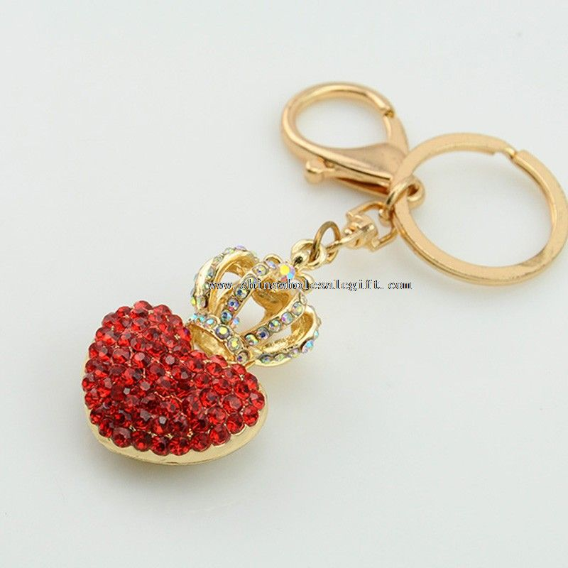 heart shape metal crystal keychain