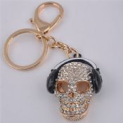 Music Skull Shape Metal Keychain with Rhinestone images