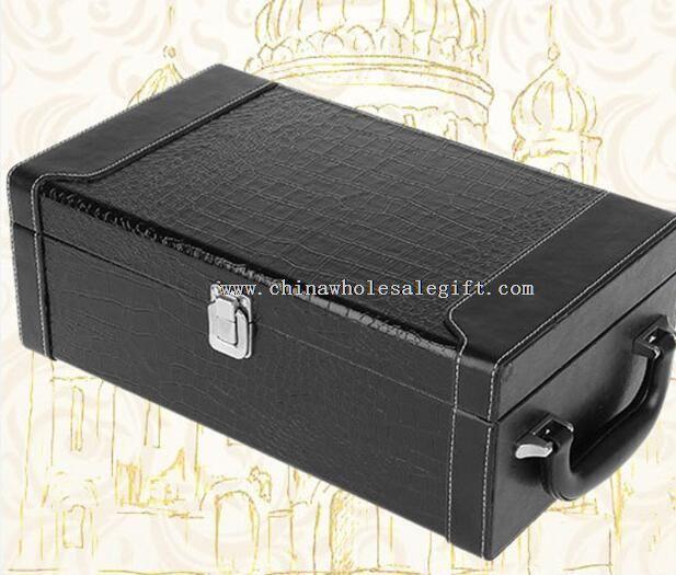 Crocodile grain leather wine box