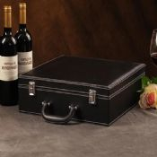 4 bottles red wine leather box images